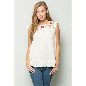 Tops - Flower Embroidered Top 🌸